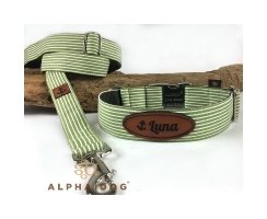 Halsband Baltic-Stripes green mit Lederlabel