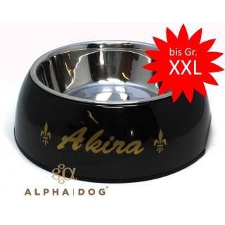 schwarzer hundenapf individuell mit namen und symbol. Black Bedroom Furniture Sets. Home Design Ideas